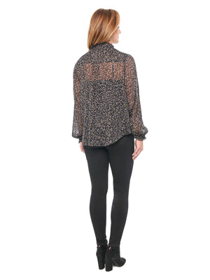 Load image into Gallery viewer, Blouson Sleeve Charcoal Animal Print Chiffon Blouse