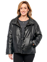 Funnel Neck Vegan Leather Puffer Black Jacket