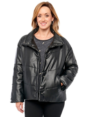 Load image into Gallery viewer, Women's Funnel Neck Vegan Leather Puffer Black Jacket