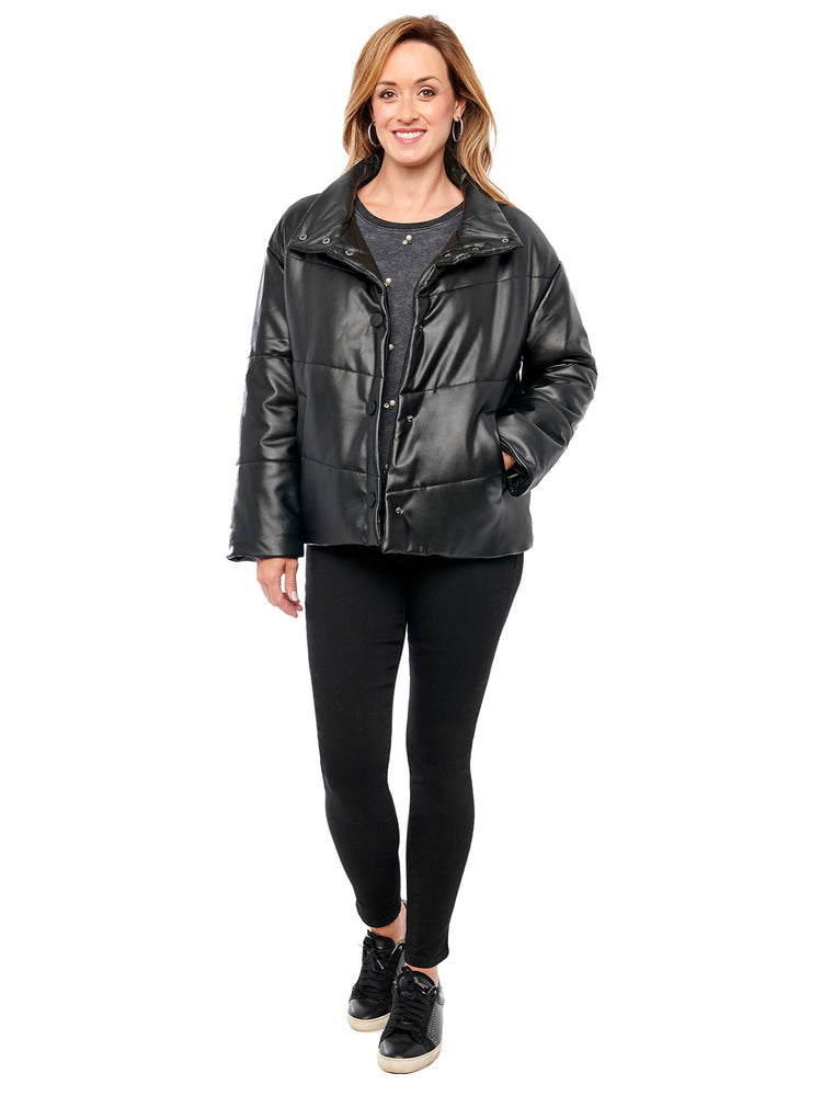 Load image into Gallery viewer, Funnel Neck Vegan Leather Puffer Black Jacket