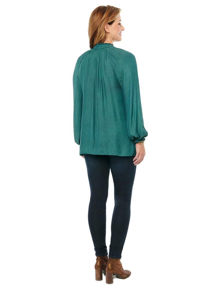Blouson Long Sleeve Smock Neck Woven Blouse