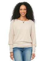 Long Sleeve Dolman Boat Neck Super Soft Waffle Thermal Knit Top Heather Oatmeal Ivory