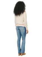 Long Sleeve Dolman Boat Neck Waffle Knit Top