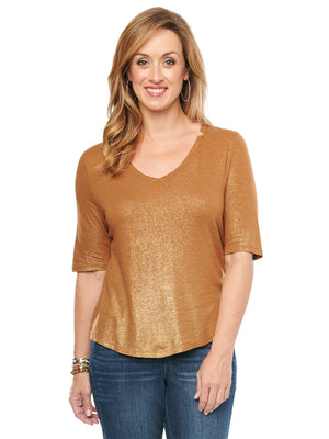 Elbow Sleeve V Neck Foil Tee Shirt toasted acorn gold fashion t-shirts