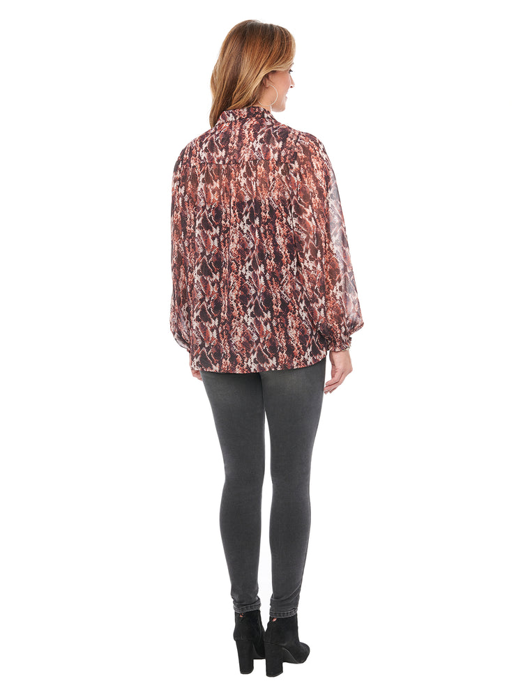 Blouson Long Sleeve Python Print Woven Blouse