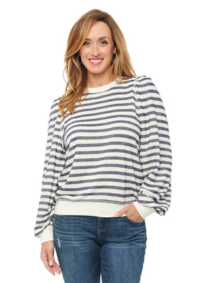 Blouson Sleeves Puff Shoulder Long Sleeve Scoop Neck Striped Pullover Sweatshirt Navy Blue And Off White