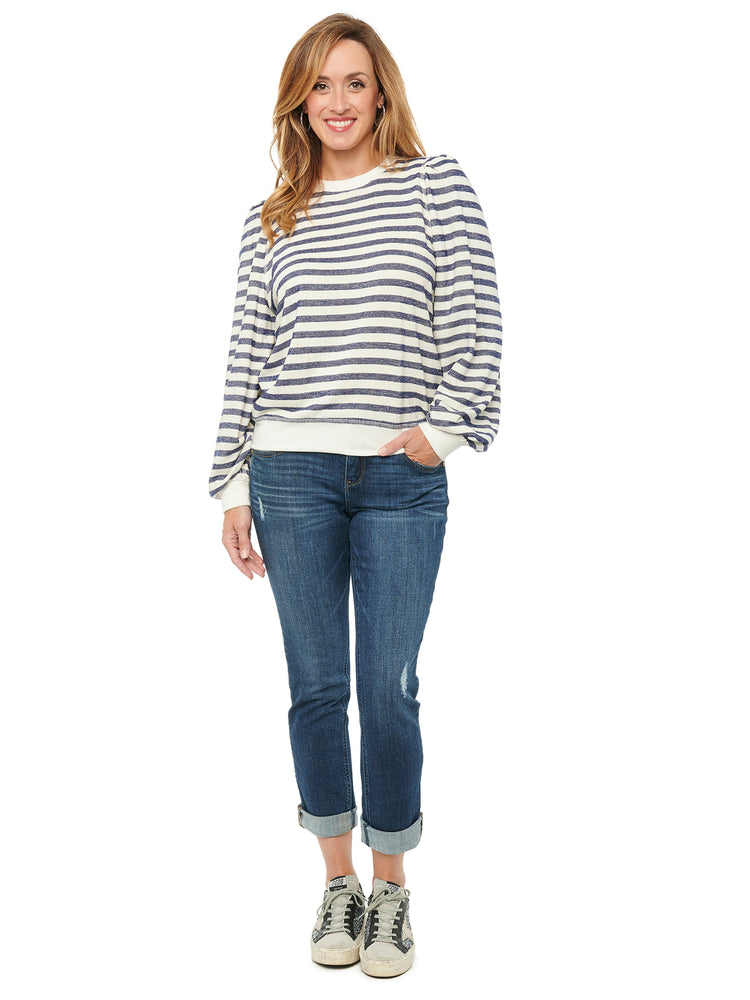 Blouson Puff Long Sleeve Scoop Neck Stripe Sweatshirt