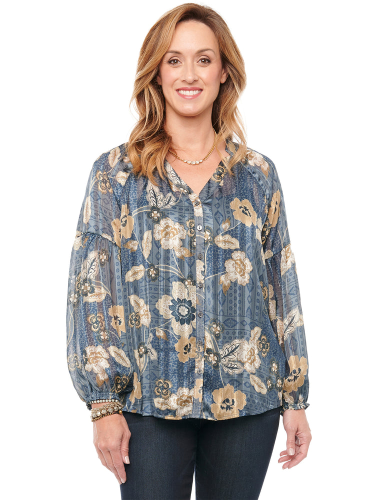 Blouson Long Sleeve Floral Woven Top