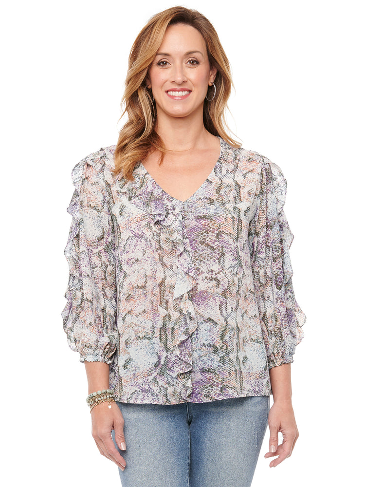 Load image into Gallery viewer, 3/4 Ruffle Sleeve Ruffle Front Snake Animal Print Chiffon Blouse