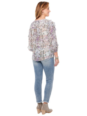 Load image into Gallery viewer, 3/4 Sleeve Ruffle Front Snake Print Woven Top