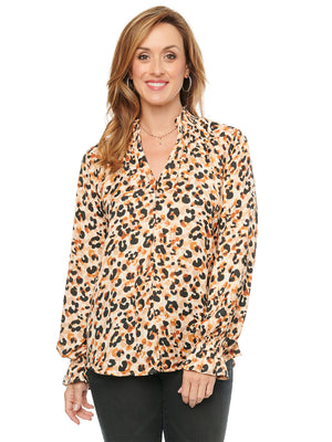 Load image into Gallery viewer, Long Sleeve Mock Zip Neck Leopard Animal Print Blouse Woven Top
