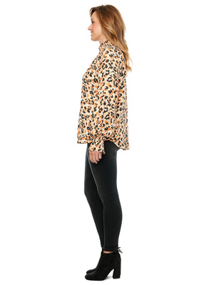 Load image into Gallery viewer, Long Sleeve Mock Zip Neck Leopard Print Woven Top
