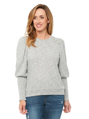 Womens Fashion Top Blouson Puff Sleeve Scoop Neck Soft Knit Thermal Top Heather Grey Agave