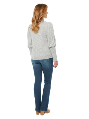Blouson Puff Long Sleeve Scoop Neck Thermal Knit Top