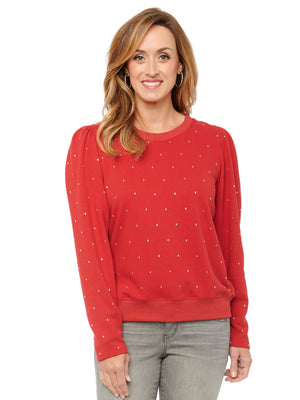 Long Sleeve Scoop Neck All Over Rhinestone Pullover Sweatshirt Crimson Red