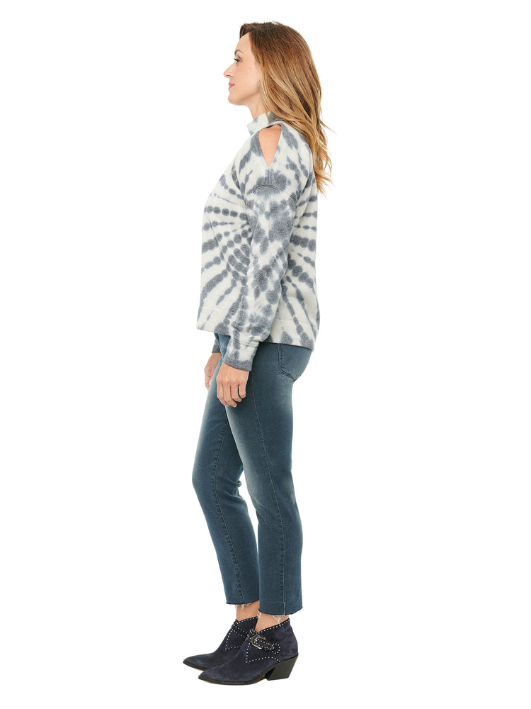 Load image into Gallery viewer, Long Sleeve One Cold Shoulder Tie Dye French Terry Sweatshirt