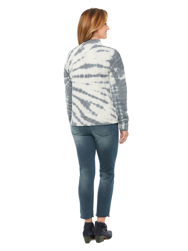 Long Sleeve One Cold Shoulder Tie Dye French Terry Sweatshirt
