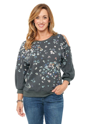 Single Cold Shoulder Blouson 3/4 Sleeve Animal Print Pullover Sweatshirt Heather Charcoal Gray Multicolor Cotton Blend French Terry