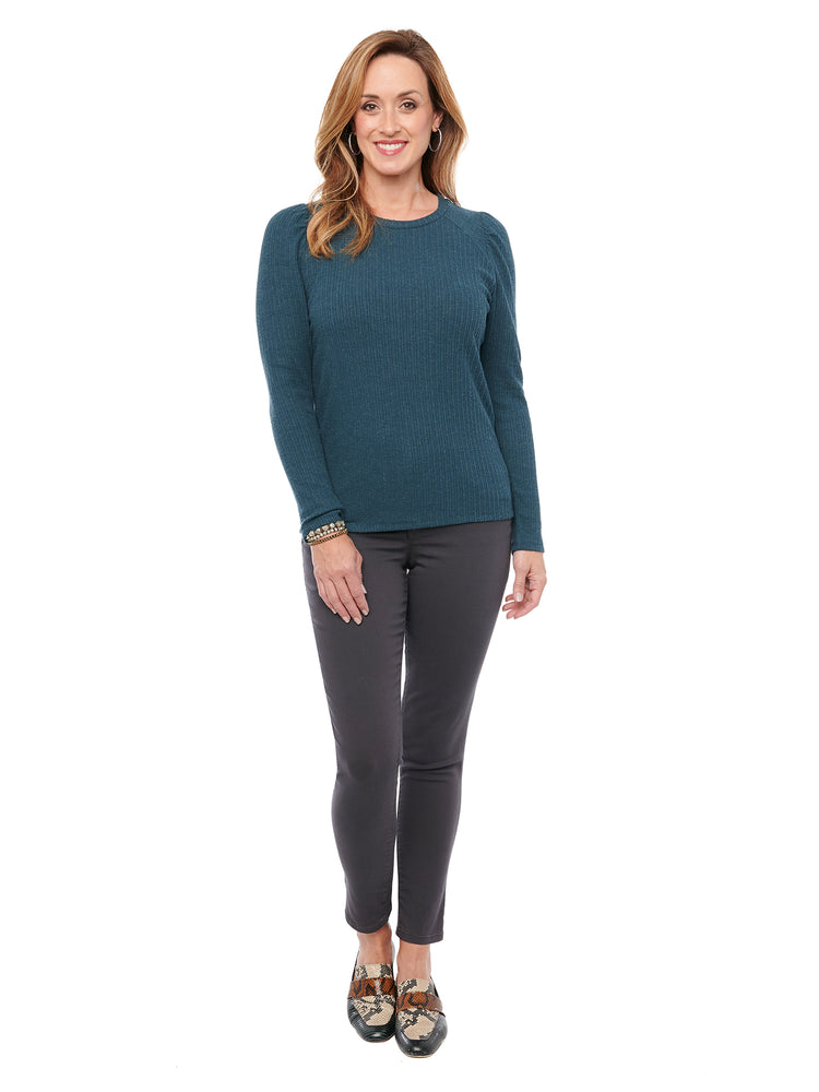 Long Sleeve Scoop Neck Rib Knit Top