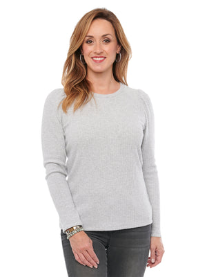 Puff Long Sleeve Scoop Neck Rib Womens Fashion Knit Top Heather Grey