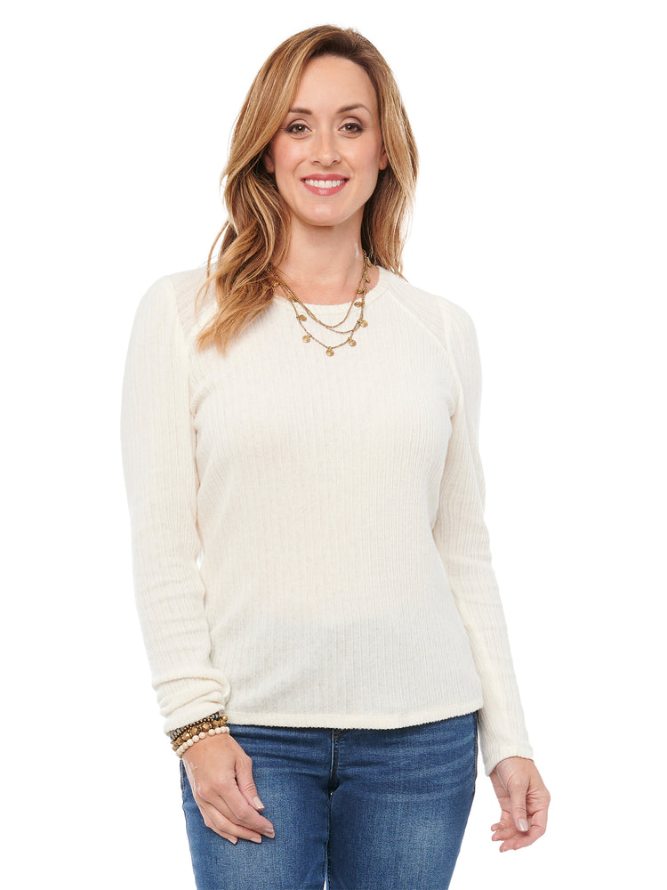 Puff Long Sleeve Scoop Neck Rib Womens Fashion Knit Top Ivory