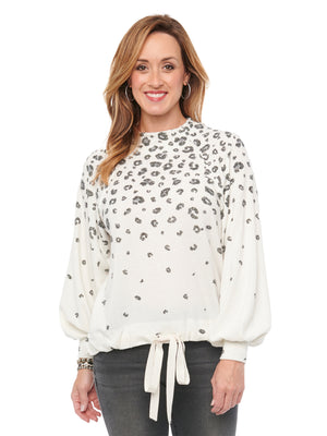 Blouson Long Sleeve Mock Neck Animal Printed Knit Top Vintage White Grey