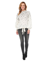 Blouson Sleeve Mock Neck Animal Printed Knit Top