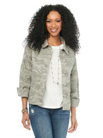 Patch Pocket Camouflage Pleat Sleeve Utility Jacket