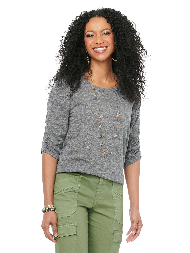 Ruched Elbow Sleeve Scoop Neck Heather Charcoal Tee Shirt