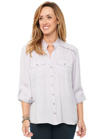 Roll Tab Long Sleeve Button Crinkle Texture Sateen Shirt