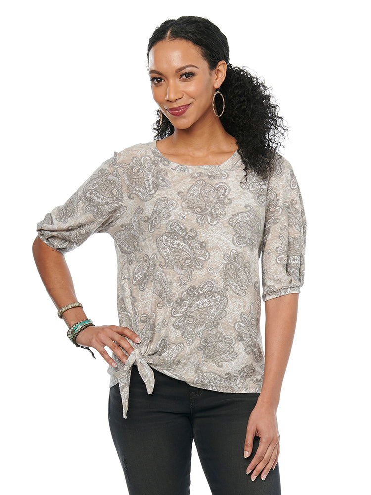 Womens Fashion Top Monochromatic Taupe Gray Brown Paisley Printed Elbow Sleeve Side Tie Cotton Modal Knit Tshirt