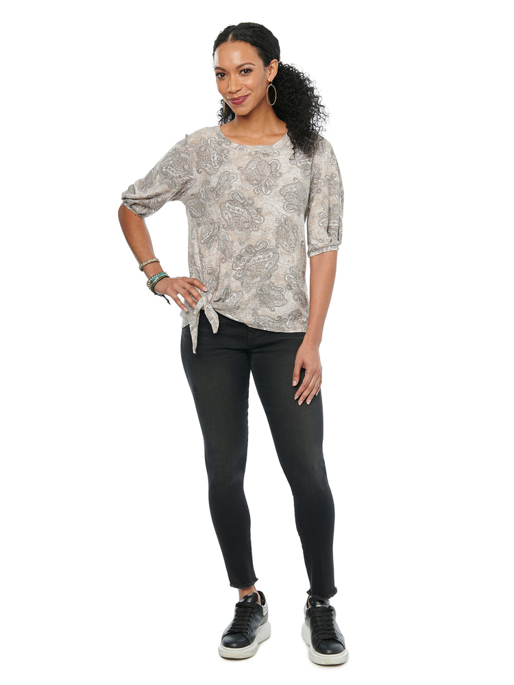Blouson Elbow Sleeve Scoop Neck Paisley Print Knit Top