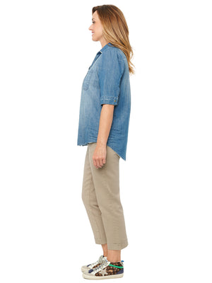 Puff Elbow Sleeve Button Down Washed Denim Shirt