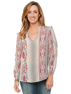 Womens Cascade Ruffle Long Sleeve Boho Fashion Top Ruffle V Notch Neck Aztec and Animal Leopard Print Woven Blouse