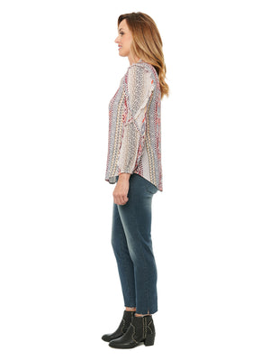 Load image into Gallery viewer, Ruffle Cascade Long Sleeve Ruffle N Neck Print Woven Top
