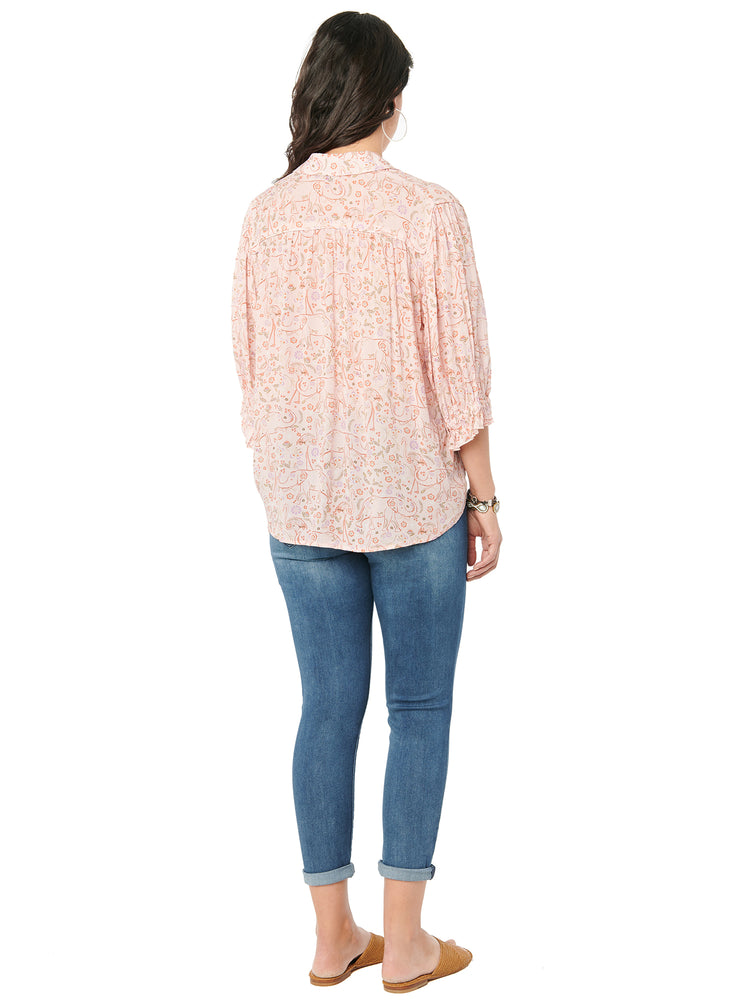 Load image into Gallery viewer, Below Elbow Sketched Elephant Print Pink Blouse