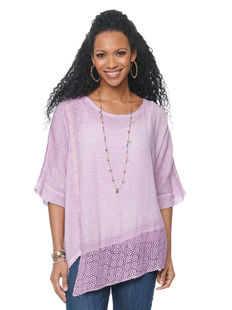 Elbow Sleeve Asymmetrical Hem Crochet Back Tunic with Tank