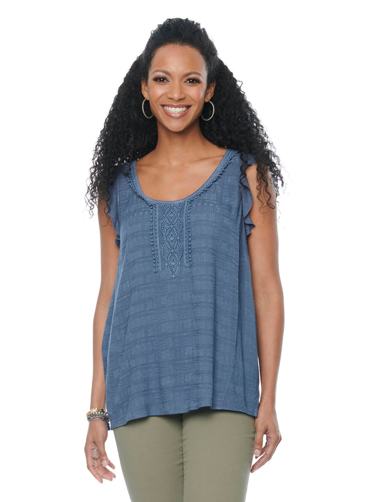 Womens Fashion Knit Woven Ruffle Sleeve Crochet Trim Tank Top Flint Blue