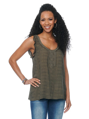 Womens Fashion Knit Woven Ruffle Sleeve Crochet Trim Tank Top Flint Olive Green