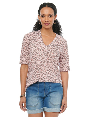 Womens Fashion Knit Tee Shirt Elbow Sleeve V Neck Leopard Animal Print Frosted Pink