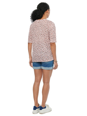 Load image into Gallery viewer, Elbow Sleeve V Neck Animal Print Fashion Tee Shirt