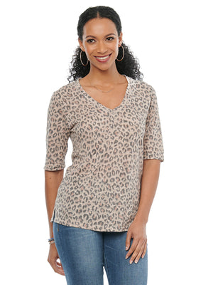 Load image into Gallery viewer, Elbow Sleeve V Neck Leopard Animal Print Fashion Tee Shirt Tan