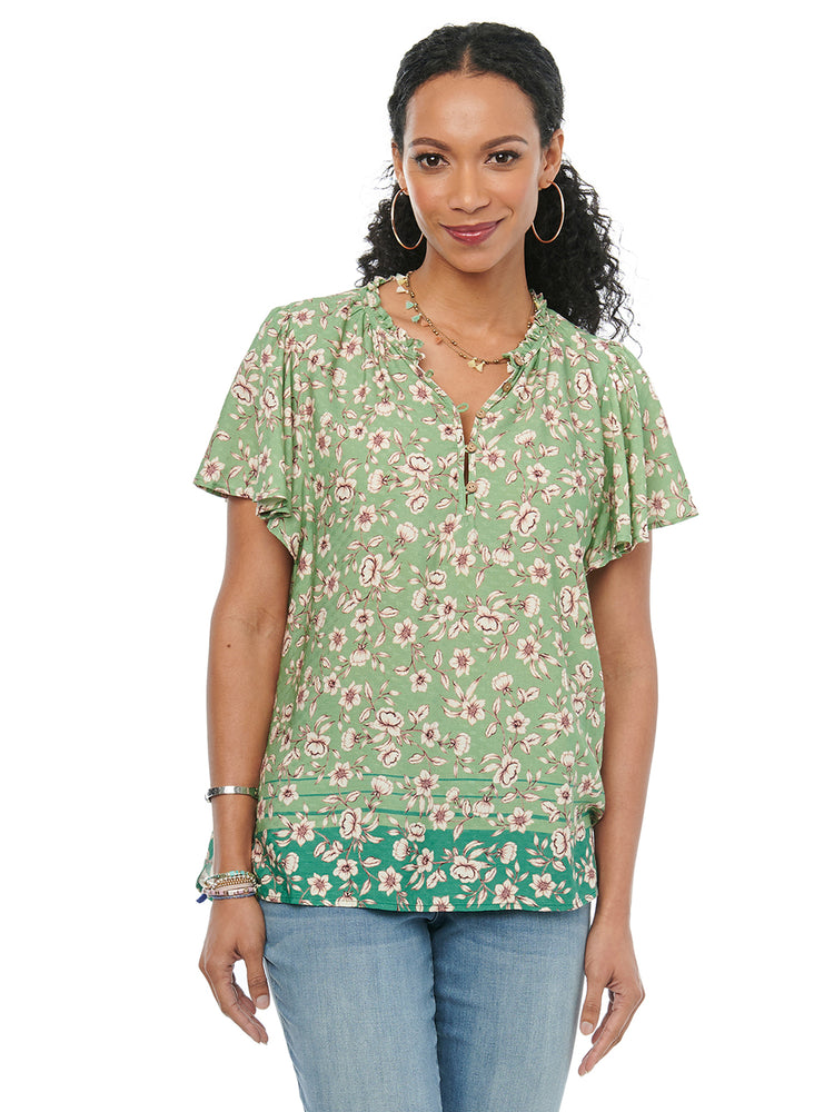 Womens Fashion Woven Top Ruffle Sleeve Half Placket Front Floral Hedge Green Blouse