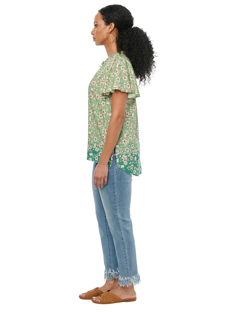 Cascade Ruffle Short Sleeve Hedge Green Floral Print Woven Top