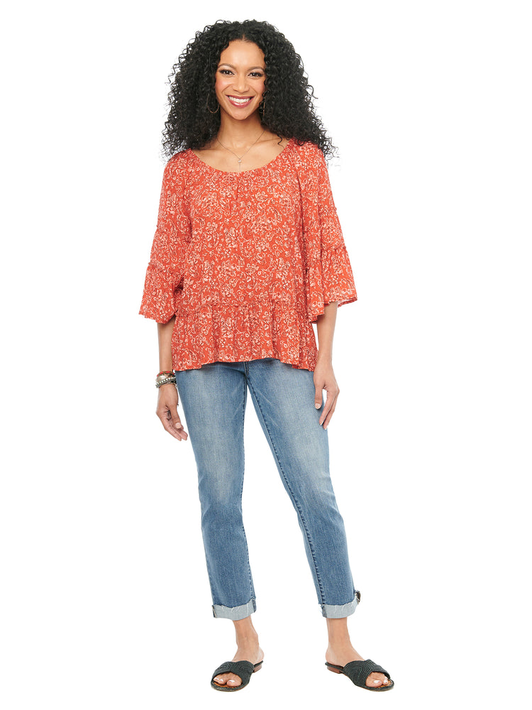 3/4 Sleeve Scoop Neck Floral Paisley Red Flowy Woven Top