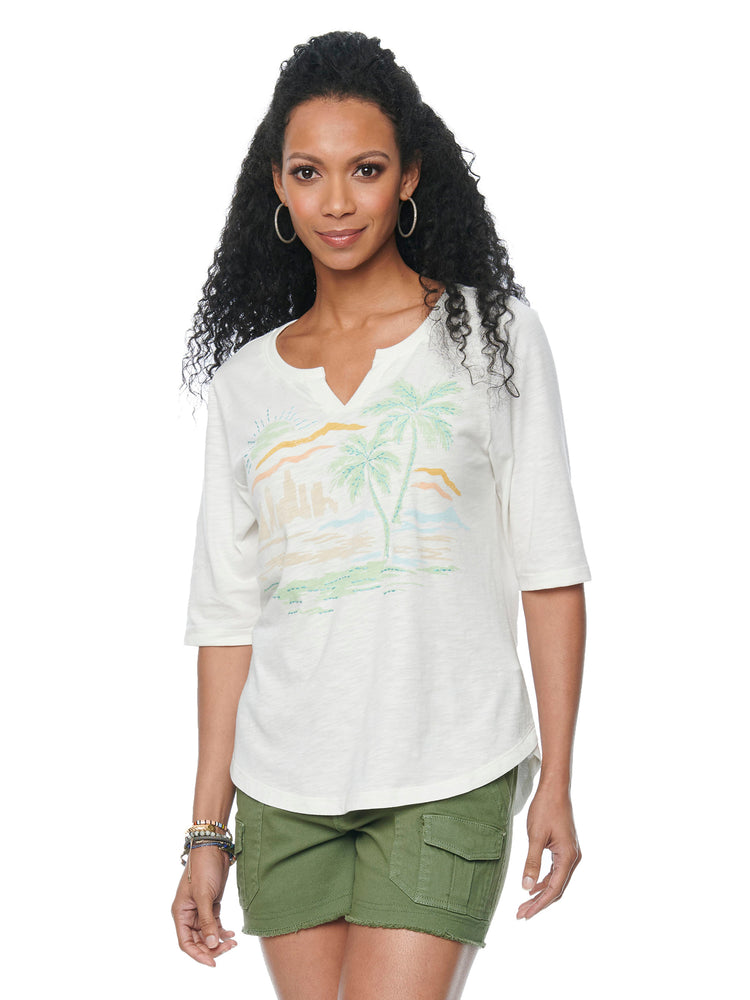 Elbow Sleeve Notched Neck Tropical Beach Graphic Tee Shirt