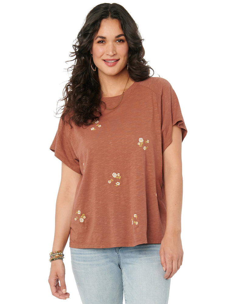 Womens Fashion Short Sleeve Boyfriend Tee Shirt Embroidered Floral Sedona Clay Knit Top