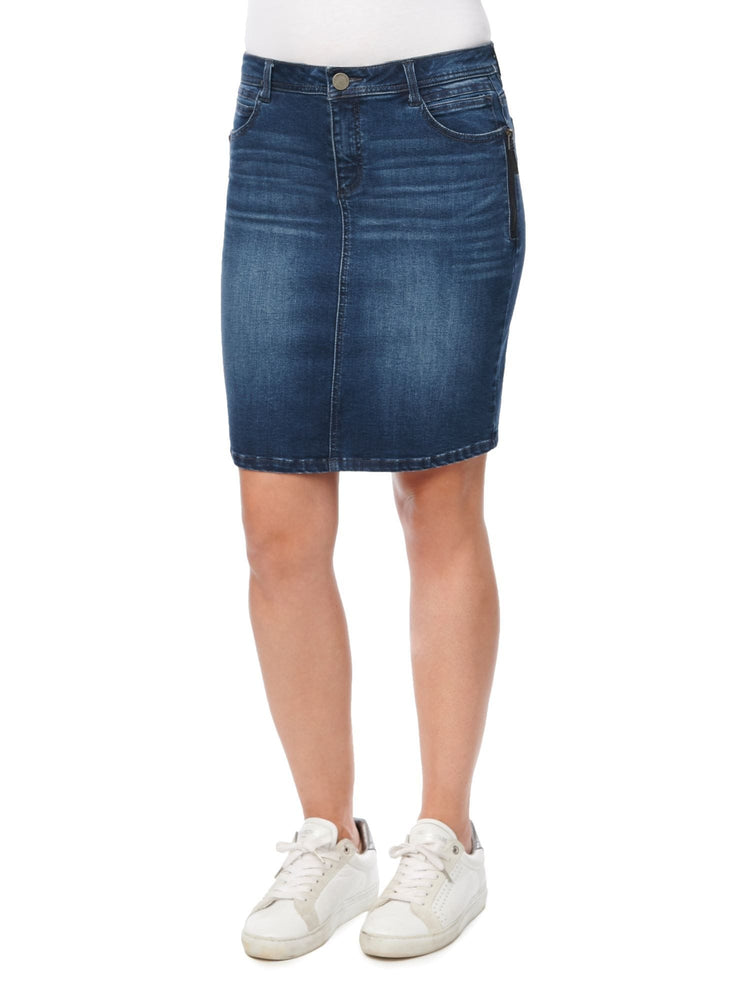"""Ab""solution Side Zip Pencil Denim Skirt"