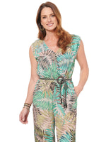 "Palm Print ""O"" Ring Belted Jumpsuit"