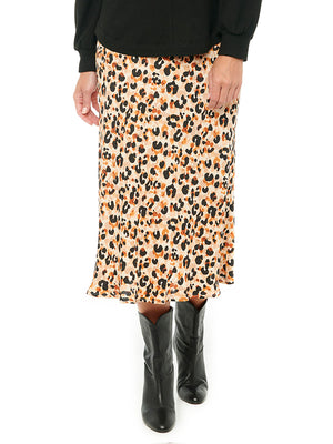 Leopard Print Woven Bias Mid Length Skirt